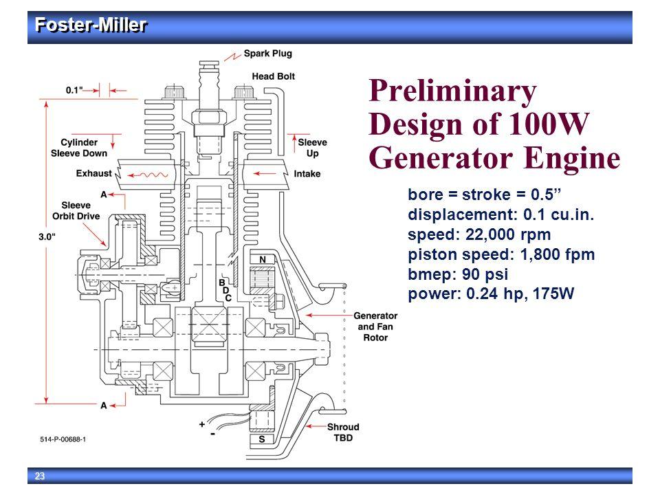 "Foster-Miller 23 Preliminary Design of 100W Generator Engine bore = stroke = 0.5"" displacement: 0.1 cu.in. speed: 22,000 rpm piston speed: 1,800 fpm b"
