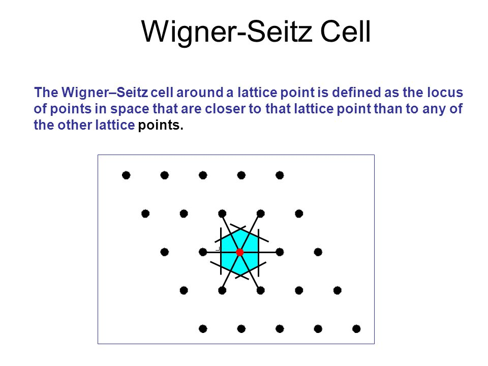 Wigner-Seitz Cell The Wigner–Seitz cell around a lattice point is defined as the locus of points in space that are closer to that lattice point than t
