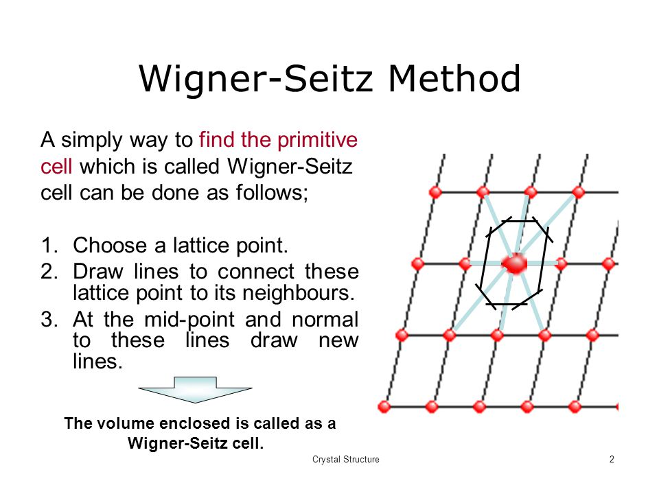 Crystal Structure2 Wigner-Seitz Method A simply way to find the primitive cell which is called Wigner-Seitz cell can be done as follows; 1.Choose a lattice point.