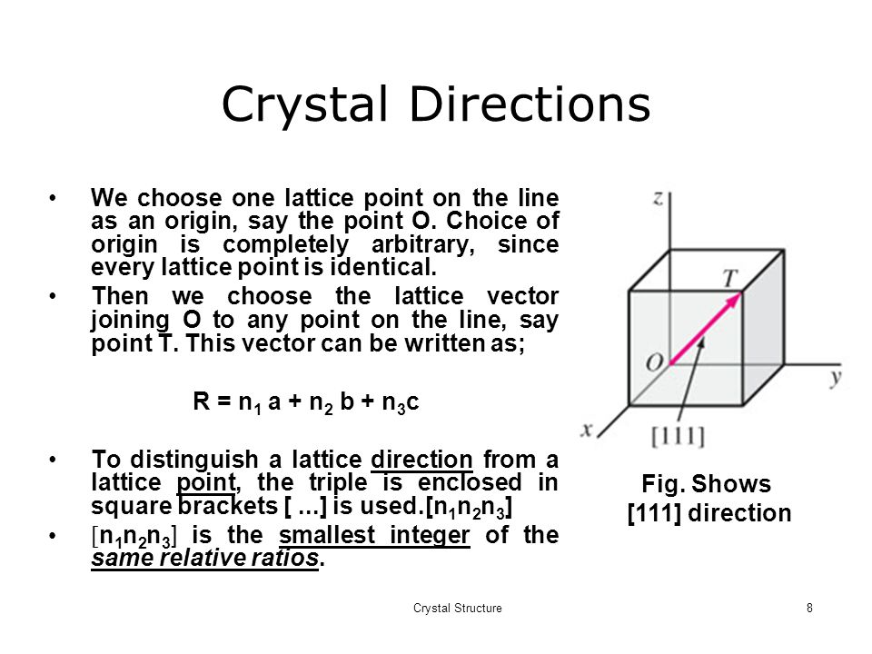 Crystal Structure8 Crystal Directions Fig.