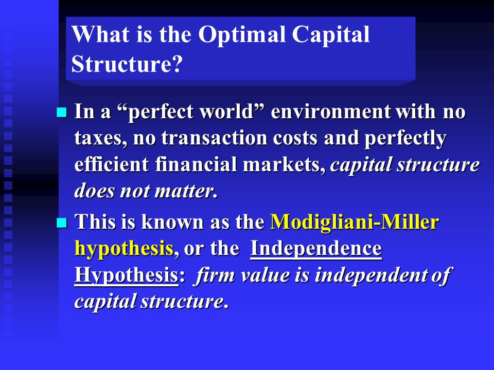 What is the Optimal Capital Structure.