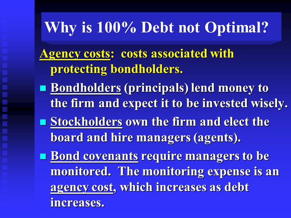 Agency costs: costs associated with protecting bondholders.