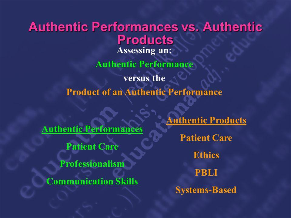 Slide 26 Authentic Performances vs. Authentic Products Authentic Performances Patient Care Professionalism Communication Skills Authentic Products Pat