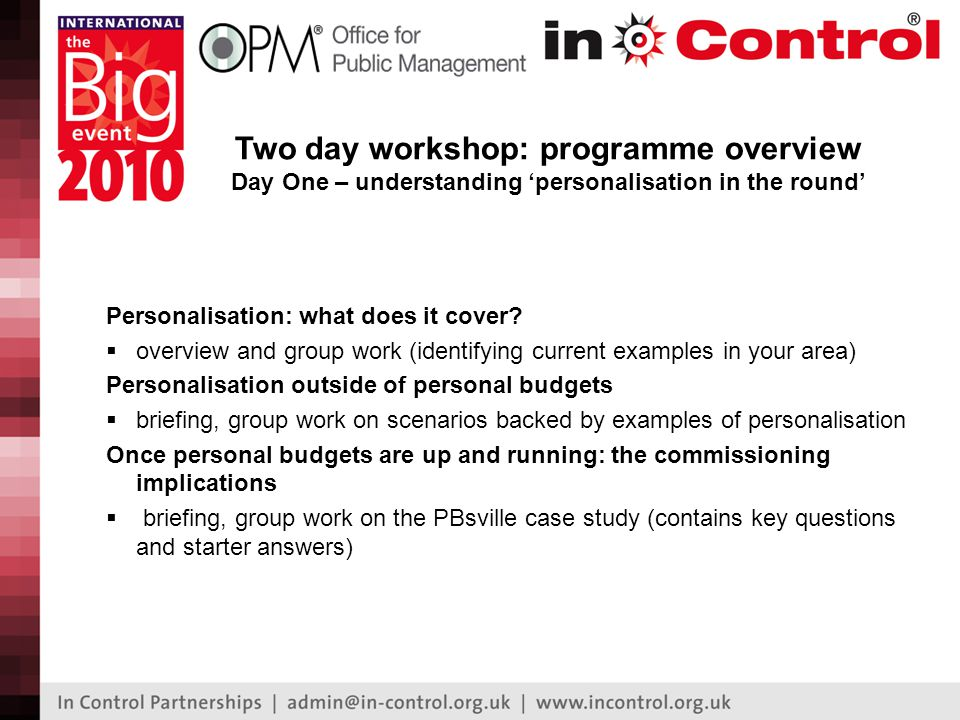 Two day workshop: programme overview Day One – understanding 'personalisation in the round' Personalisation: what does it cover.