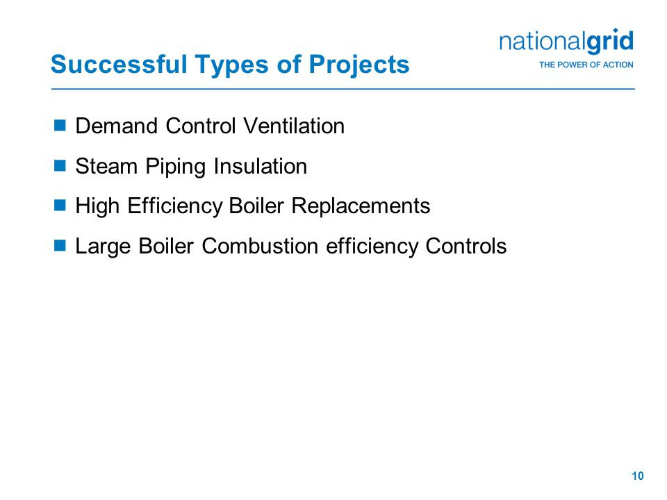10 Successful Types of Projects  Demand Control Ventilation  Steam Piping Insulation  High Efficiency Boiler Replacements  Large Boiler Combustion efficiency Controls