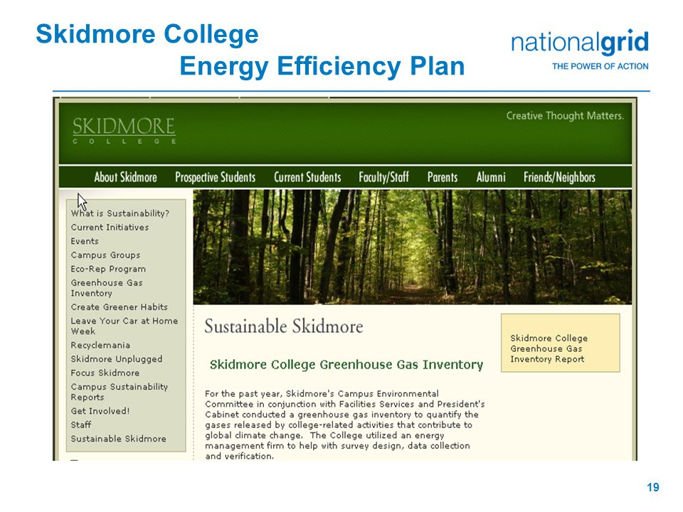 19 Skidmore College Energy Efficiency Plan