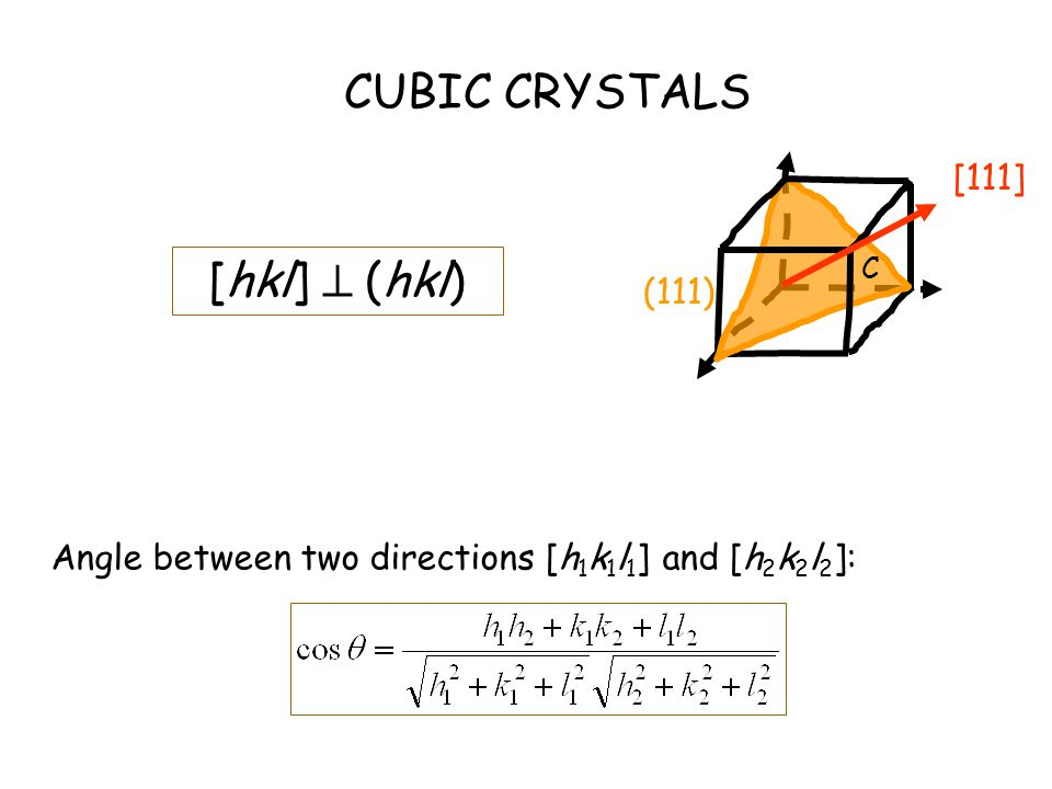 CUBIC CRYSTALS [hkl]  (hkl) Angle between two directions [h 1 k 1 l 1 ] and [h 2 k 2 l 2 ]: C [111] (111)