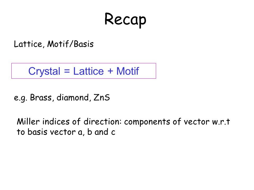 Recap Lattice, Motif/Basis Crystal = Lattice + Motif e.g. Brass, diamond, ZnS Miller indices of direction: components of vector w.r.t to basis vector