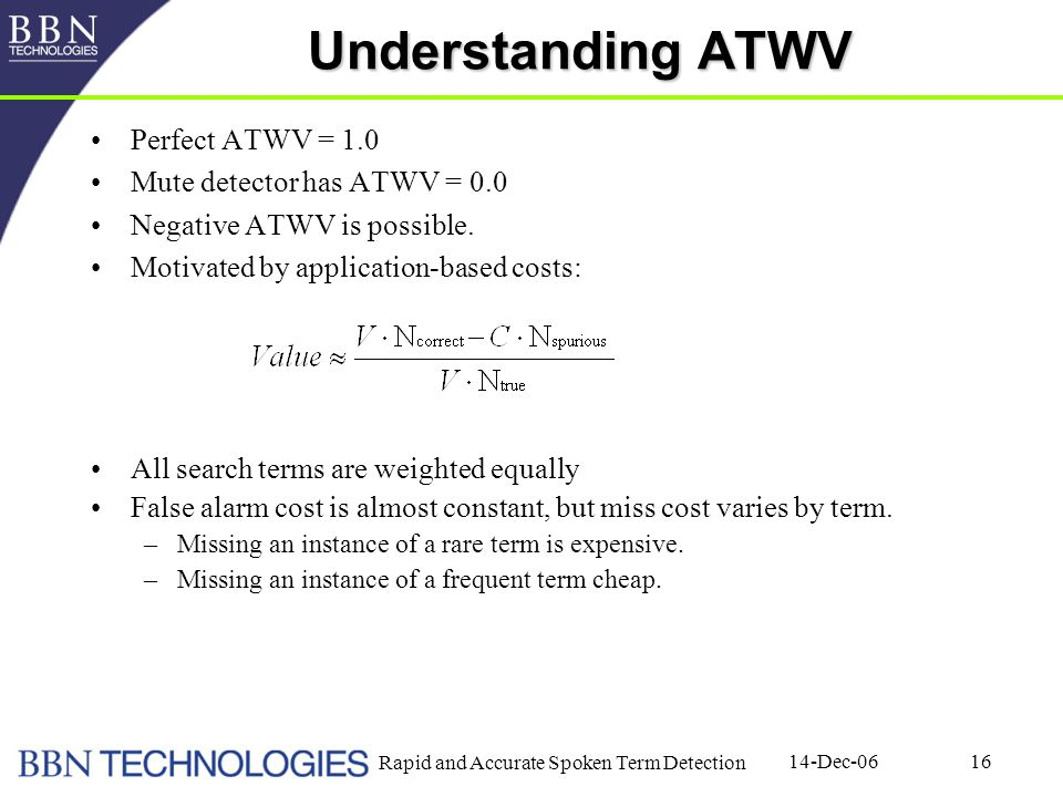 14-Dec-06 Rapid and Accurate Spoken Term Detection 16 Understanding ATWV Perfect ATWV = 1.0 Mute detector has ATWV = 0.0 Negative ATWV is possible. Mo