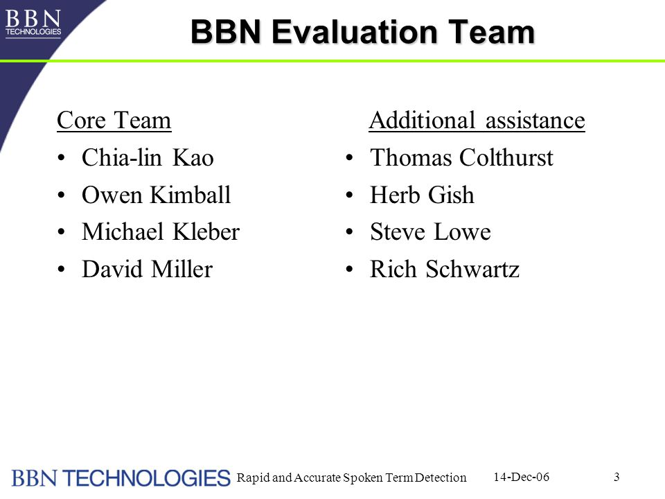 14-Dec-06 Rapid and Accurate Spoken Term Detection 3 BBN Evaluation Team Core Team Chia-lin Kao Owen Kimball Michael Kleber David Miller Additional as
