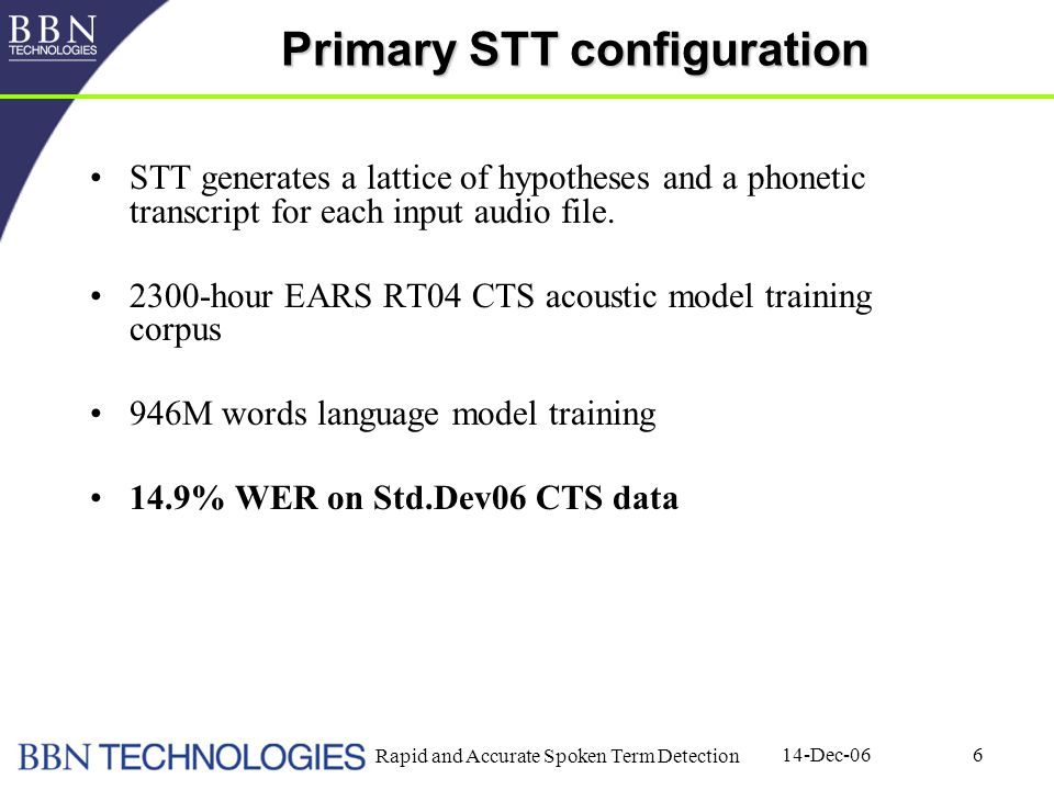 14-Dec-06 Rapid and Accurate Spoken Term Detection 6 Primary STT configuration STT generates a lattice of hypotheses and a phonetic transcript for each input audio file.