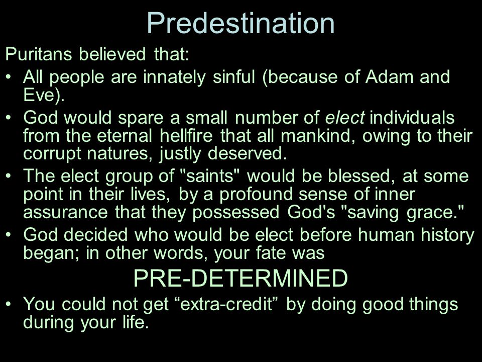Why DID the Puritans believe in predestination.