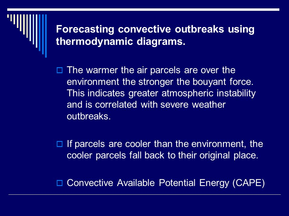 Forecasting convective outbreaks using thermodynamic diagrams.  The warmer the air parcels are over the environment the stronger the bouyant force. T