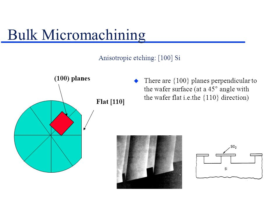 Anisotropic etching: [100] Si Flat [110] (100) planes  There are {100} planes perpendicular to the wafer surface (at a 45° angle with the wafer flat i.e.the {110} direction) Bulk Micromachining