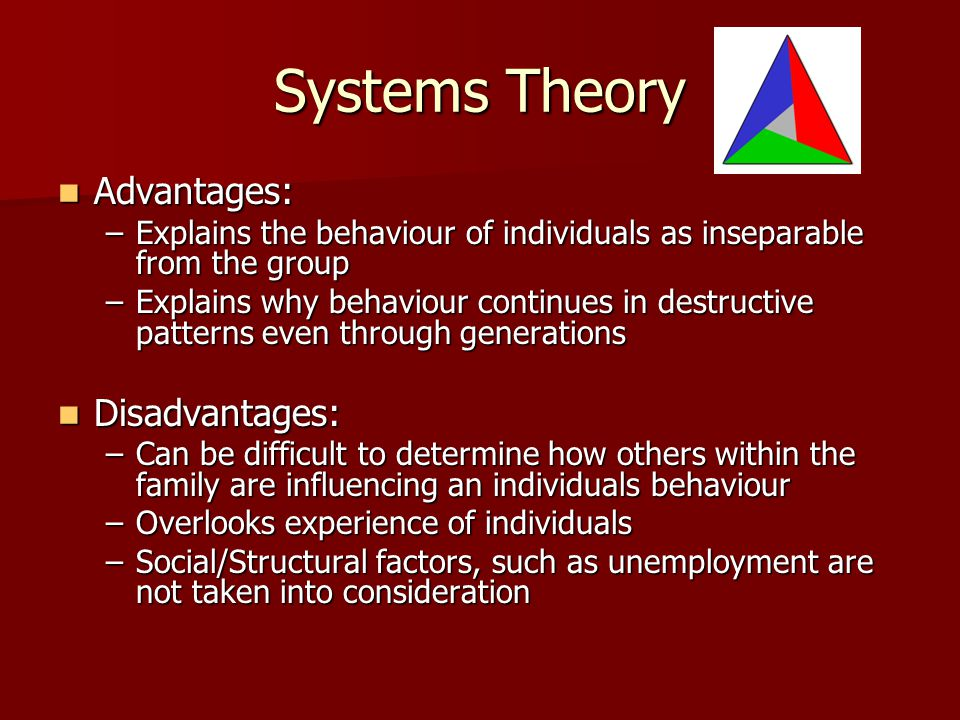 Systems Theory Advantages: Advantages: –Explains the behaviour of individuals as inseparable from the group –Explains why behaviour continues in destr