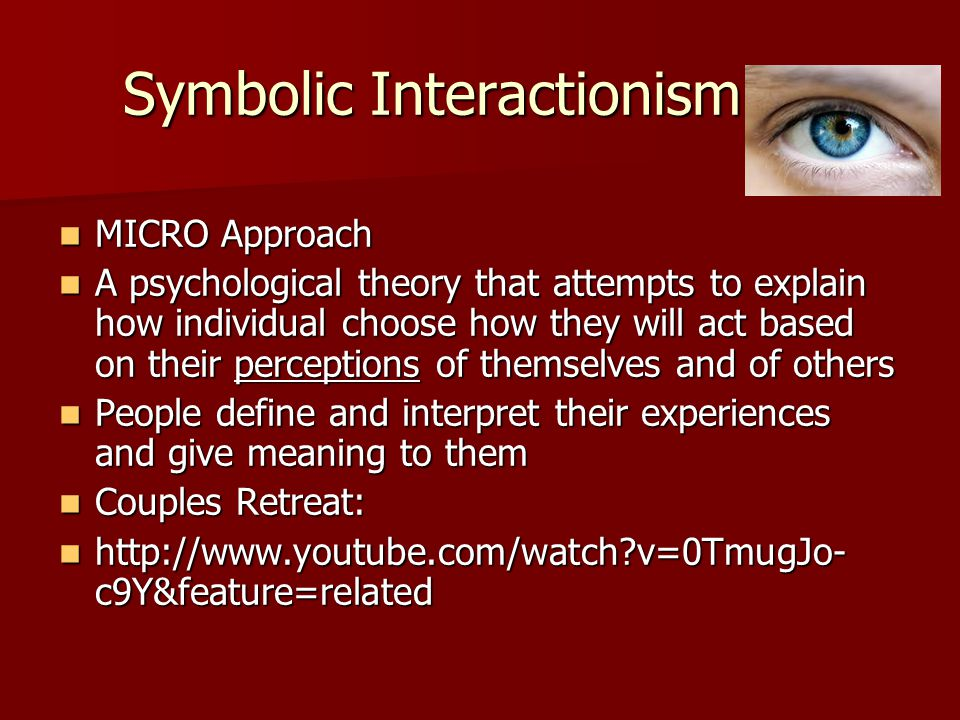 Symbolic Interactionism MICRO Approach MICRO Approach A psychological theory that attempts to explain how individual choose how they will act based on