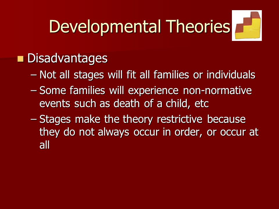 Developmental Theories Disadvantages Disadvantages –Not all stages will fit all families or individuals –Some families will experience non-normative e