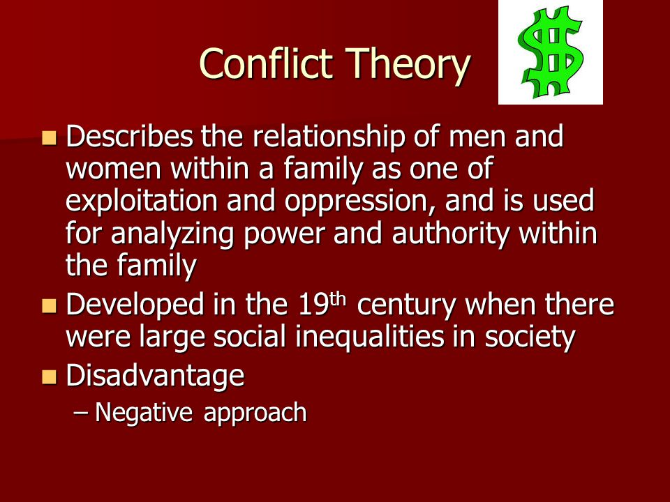 Conflict Theory Describes the relationship of men and women within a family as one of exploitation and oppression, and is used for analyzing power and