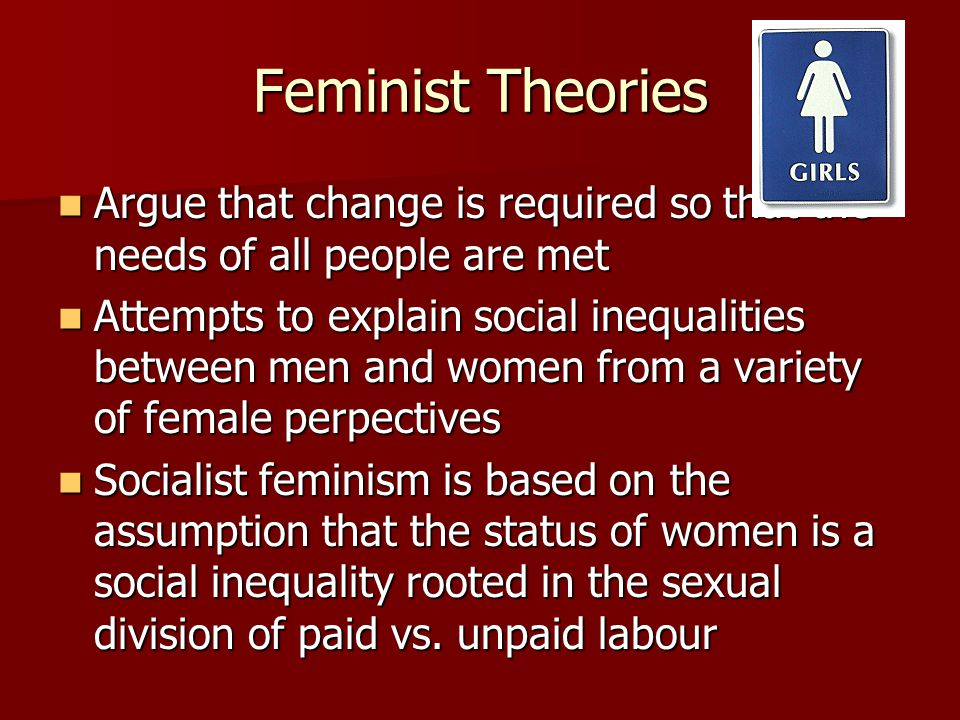 Feminist Theories Argue that change is required so that the needs of all people are met Argue that change is required so that the needs of all people