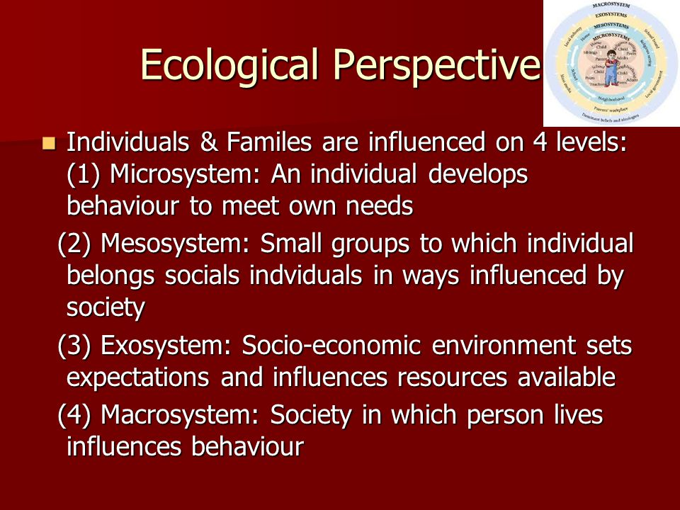Ecological Perspective Individuals & Familes are influenced on 4 levels: (1) Microsystem: An individual develops behaviour to meet own needs Individua