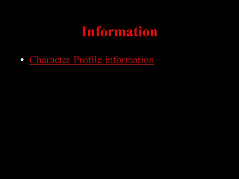 Information Character Profile information