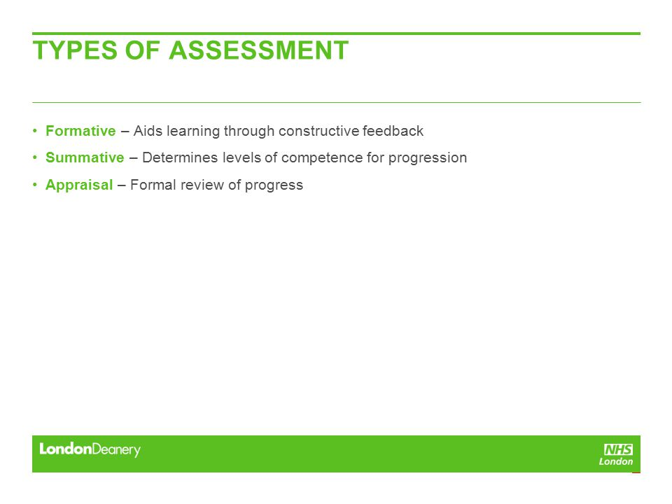 TYPES OF ASSESSMENT Formative – Aids learning through constructive feedback Summative – Determines levels of competence for progression Appraisal – Formal review of progress