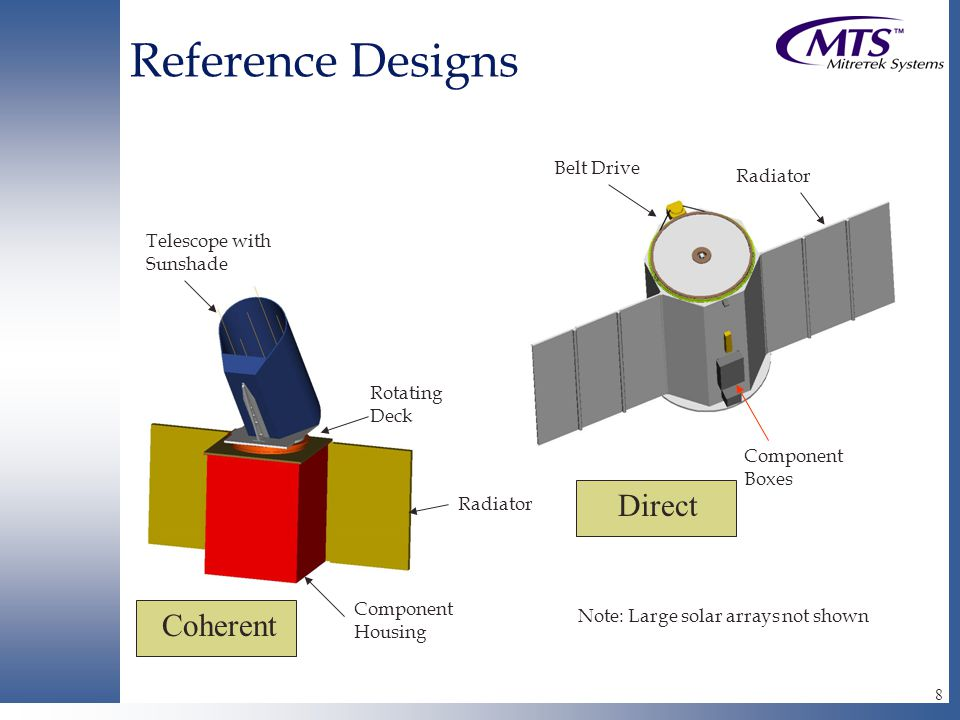 8 Reference Designs Telescope with Sunshade Radiator Rotating Deck Coherent Direct Belt Drive Radiator Component Housing Component Boxes Note: Large solar arrays not shown