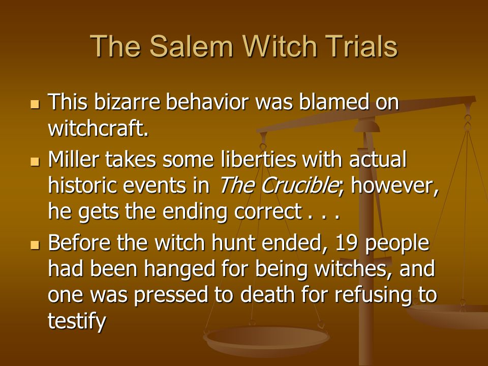 The Salem Witch Trials This bizarre behavior was blamed on witchcraft.