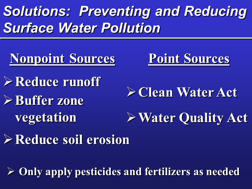 Solutions: Preventing and Reducing Surface Water Pollution Nonpoint Sources Point Sources  Reduce runoff  Buffer zone vegetation  Reduce soil erosi