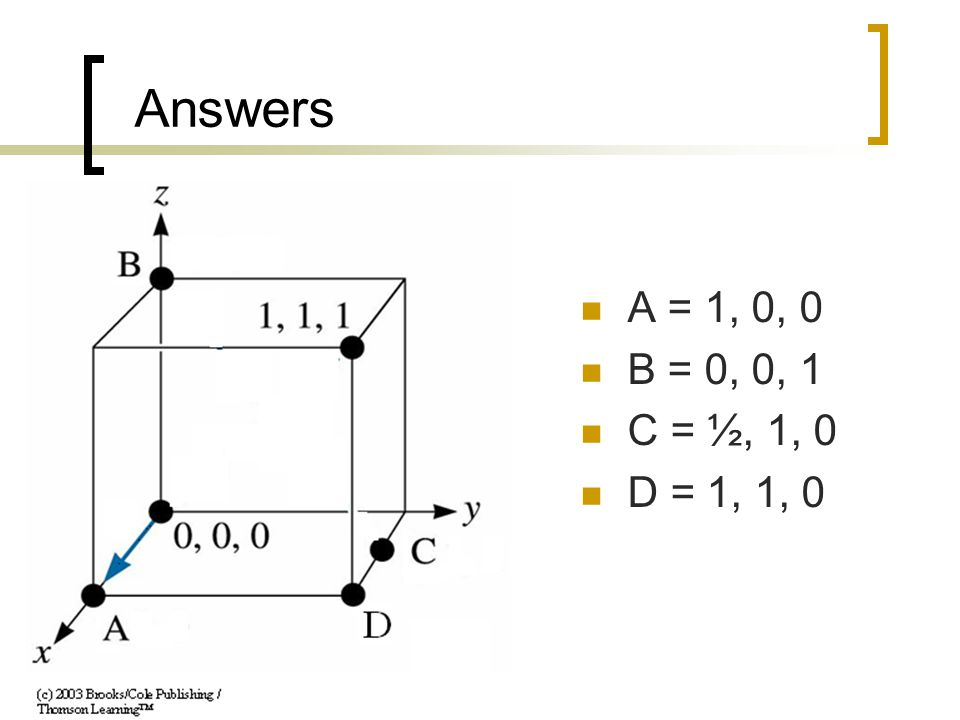 Answers A = 1, 0, 0 B = 0, 0, 1 C = ½, 1, 0 D = 1, 1, 0