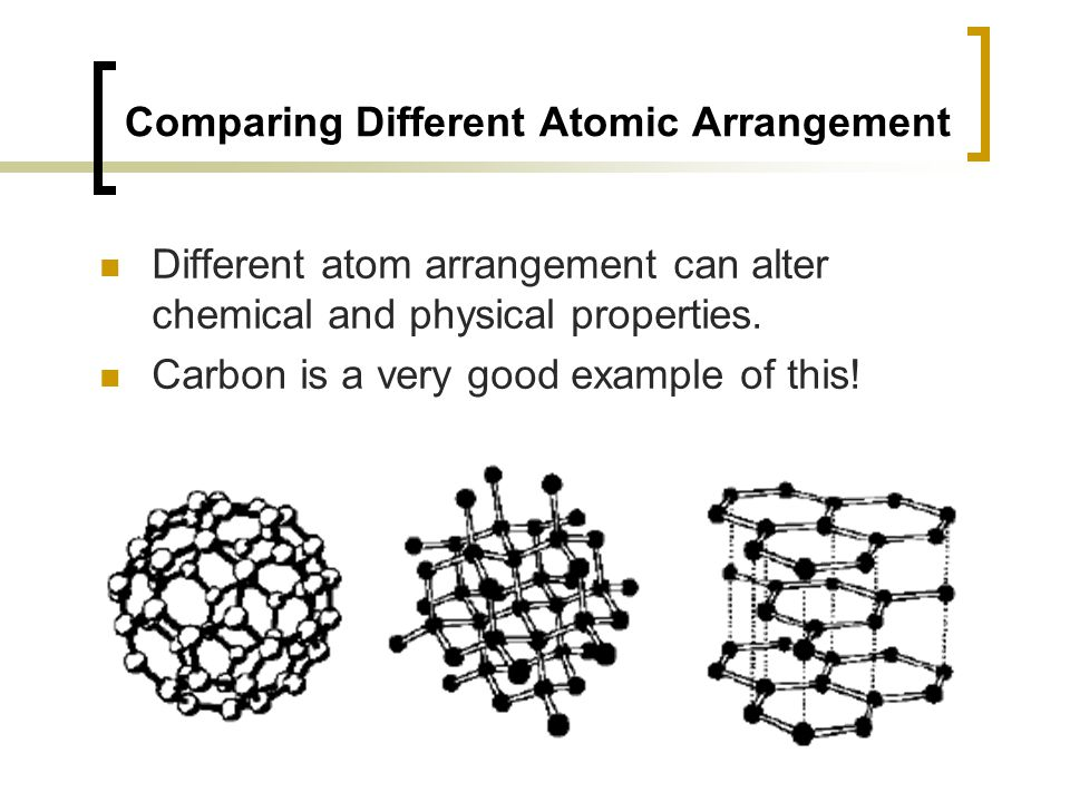 Comparing Different Atomic Arrangement Different atom arrangement can alter chemical and physical properties.