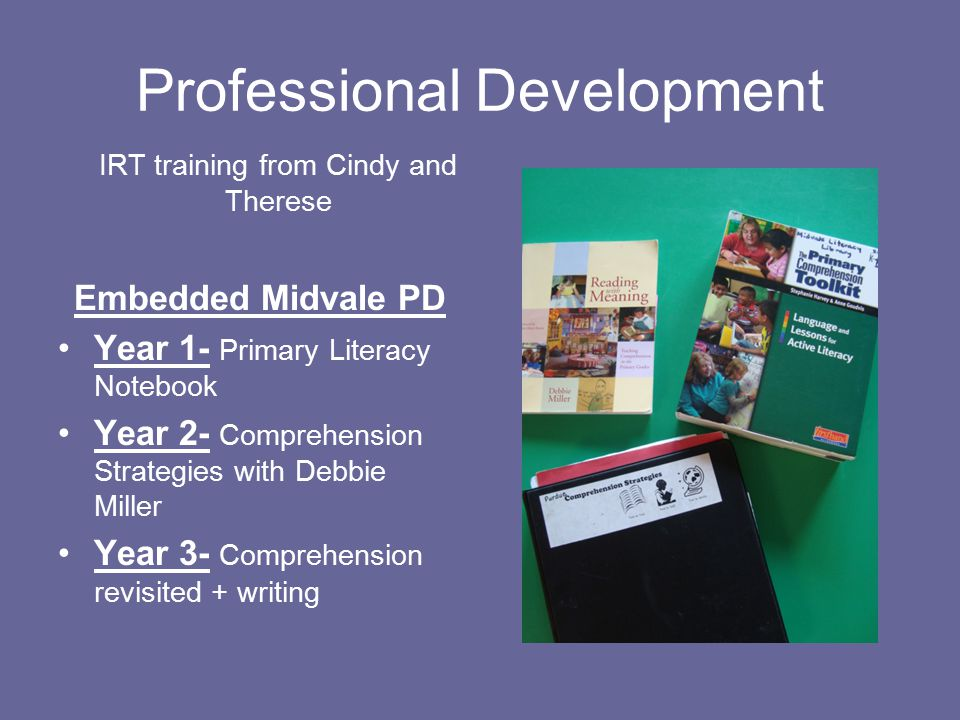 Professional Development IRT training from Cindy and Therese Embedded Midvale PD Year 1- Primary Literacy Notebook Year 2- Comprehension Strategies with Debbie Miller Year 3- Comprehension revisited + writing
