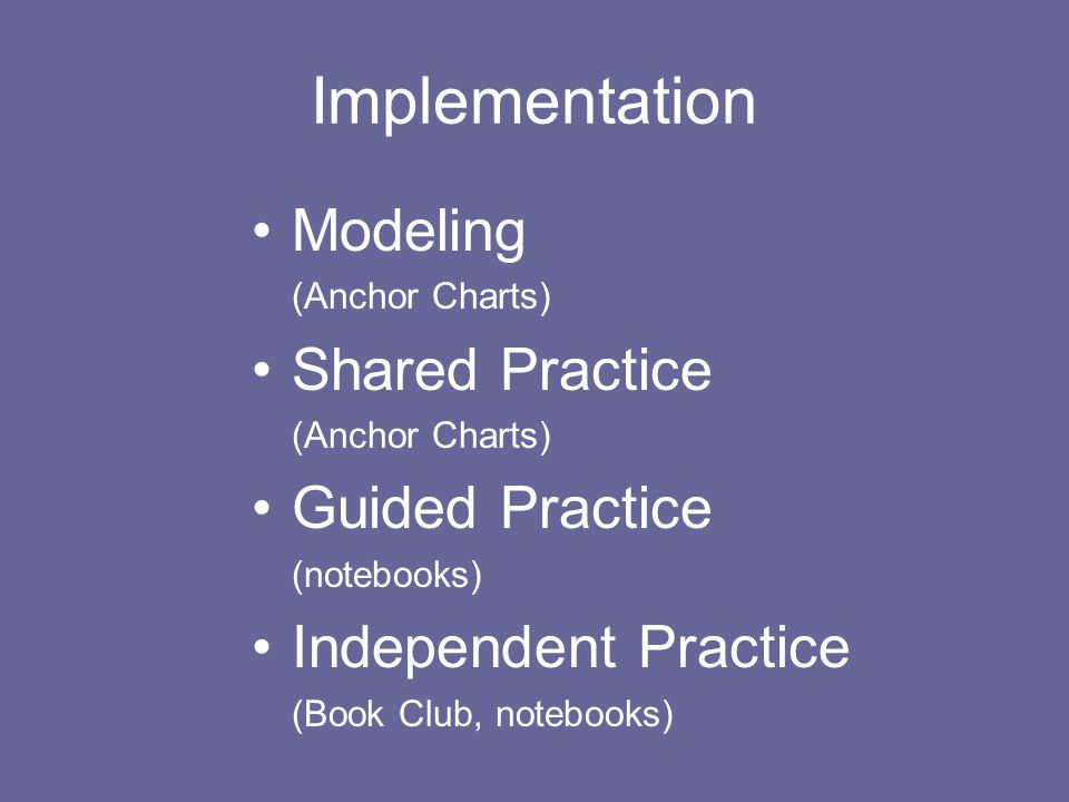 Implementation Modeling (Anchor Charts) Shared Practice (Anchor Charts) Guided Practice (notebooks) Independent Practice (Book Club, notebooks)