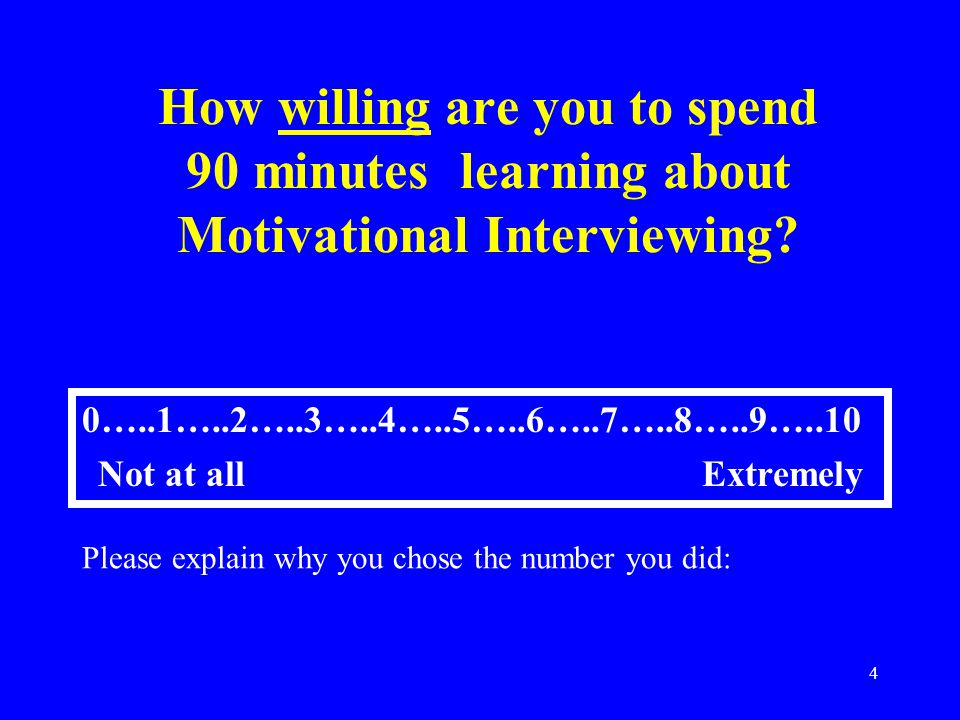4 How willing are you to spend 90 minutes learning about Motivational Interviewing.