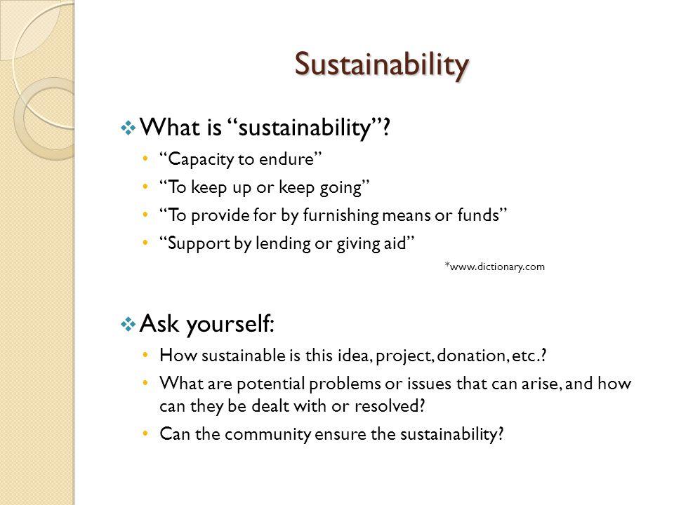 Sustainability  What is sustainability .