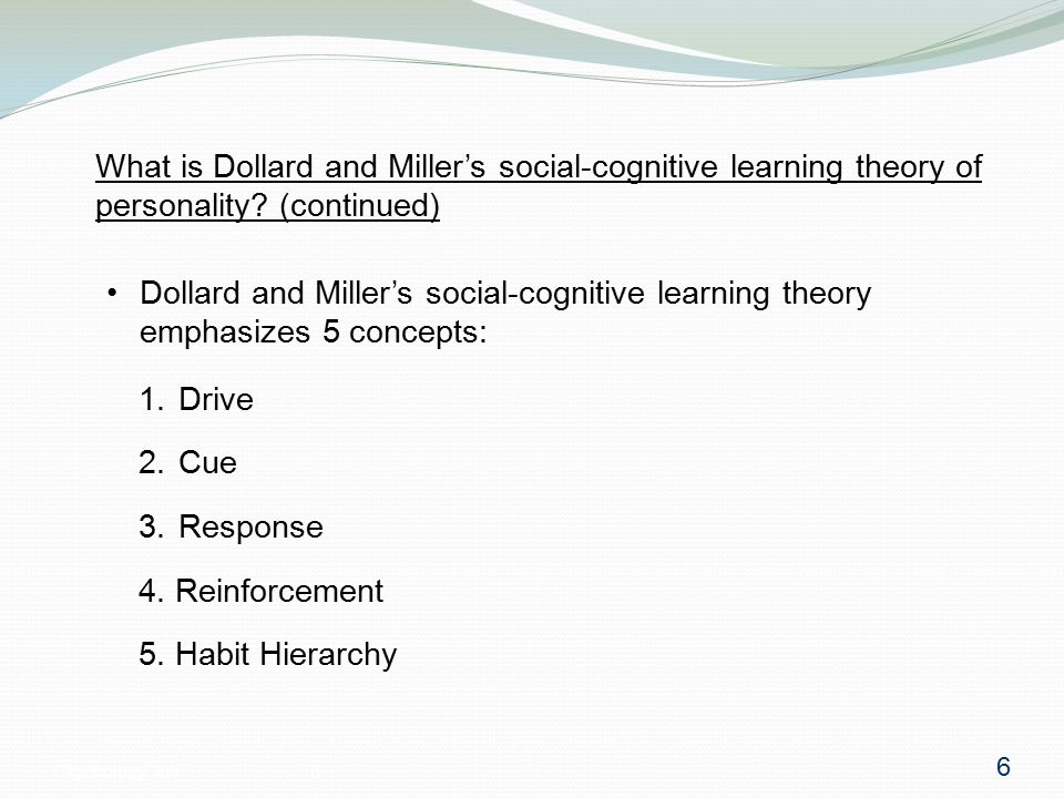 Psychology 3056 What is Dollard and Miller's social-cognitive learning theory of personality.