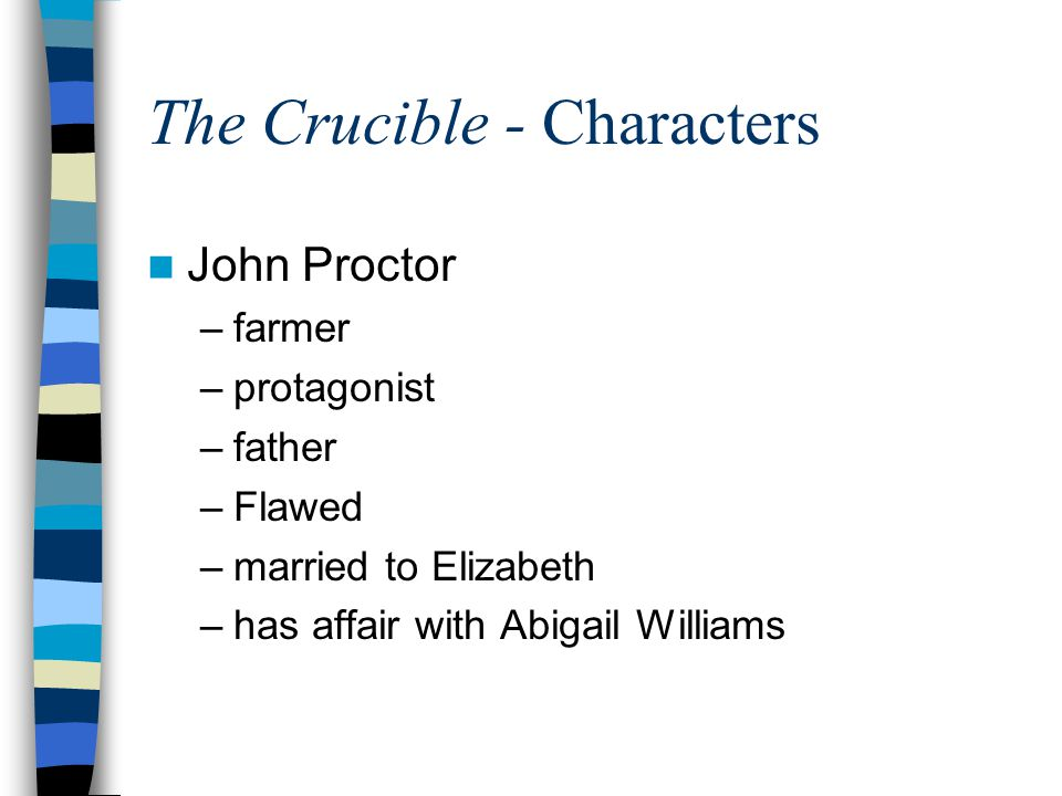 Elizabeth Proctor wife to John Proctor kind, but reserved mother accused of being a witch