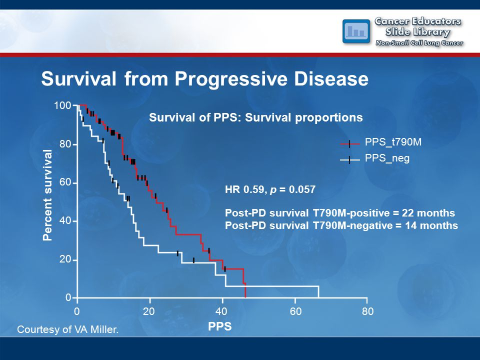 Survival from Progressive Disease 100 80 60 40 20 0 0206080 Survival of PPS: Survival proportions HR 0.59, p = 0.057 Post-PD survival T790M-positive = 22 months Post-PD survival T790M-negative = 14 months PPS Percent survival PPS_t790M PPS_neg Courtesy of VA Miller.