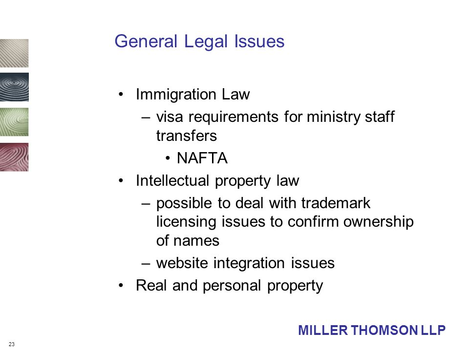 23 MILLER THOMSON LLP General Legal Issues Immigration Law –visa requirements for ministry staff transfers NAFTA Intellectual property law –possible to deal with trademark licensing issues to confirm ownership of names –website integration issues Real and personal property