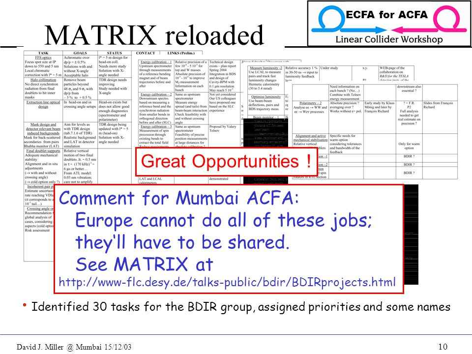 David J. Miller @ Mumbai 15/12/03 ECFA for ACFA 10 MATRIX reloaded Identified 30 tasks for the BDIR group, assigned priorities and some names Great Op