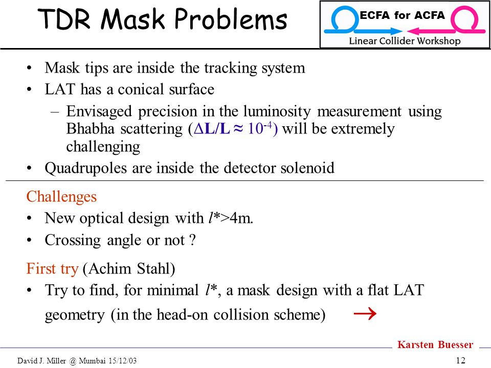 David J. Miller @ Mumbai 15/12/03 ECFA for ACFA 12 TDR Mask Problems Mask tips are inside the tracking system LAT has a conical surface –Envisaged pre