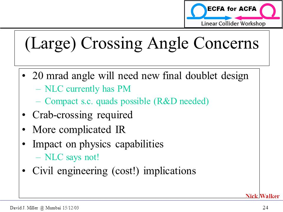 David J. Miller @ Mumbai 15/12/03 ECFA for ACFA 24 (Large) Crossing Angle Concerns 20 mrad angle will need new final doublet design –NLC currently has