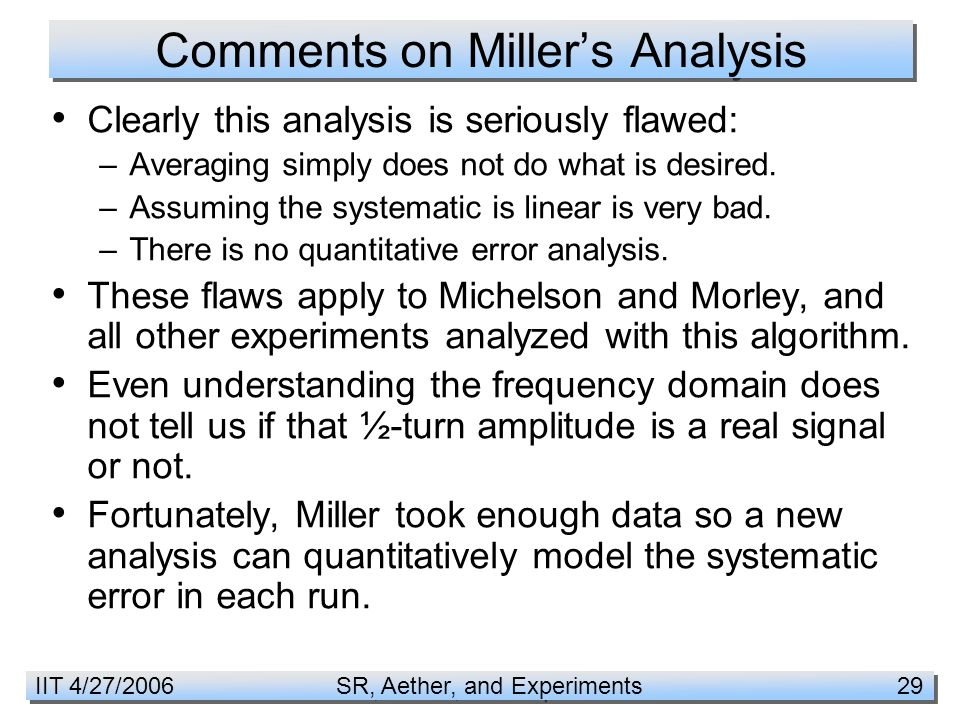 IIT 4/27/2006 SR, Aether, and Experiments 29 Comments on Miller's Analysis Clearly this analysis is seriously flawed: –Averaging simply does not do what is desired.