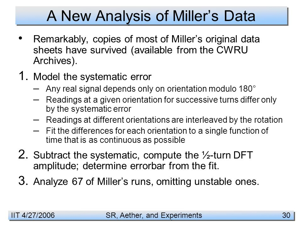 IIT 4/27/2006 SR, Aether, and Experiments 30 A New Analysis of Miller's Data Remarkably, copies of most of Miller's original data sheets have survived (available from the CWRU Archives).