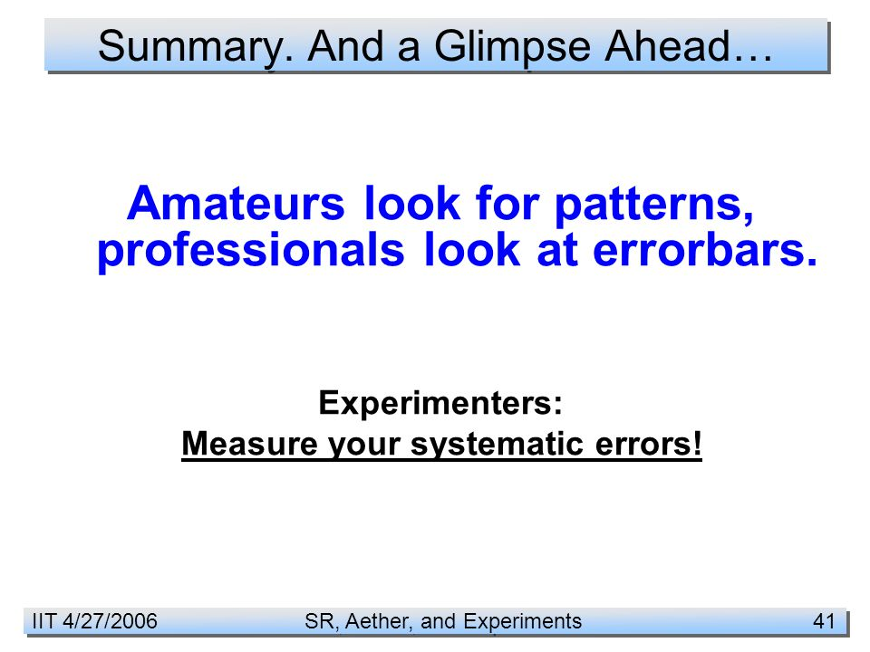 IIT 4/27/2006 SR, Aether, and Experiments 41 Summary.