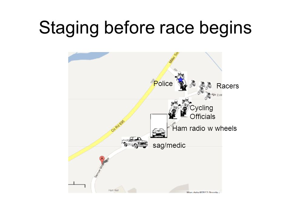 Staging before race begins Police Racers Cycling Officials Ham radio w wheels sag/medic