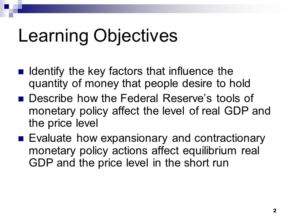 63 Summary Discussion of Learning Objectives Keynesian versus monetarist views on the transmission mechanism of monetary policy  Keynesian transmission mechanism Changes in interest rates cause changes in investment which change equilibrium real GDP  Monetarist transmission mechanism Changes in the money supply change desired spending