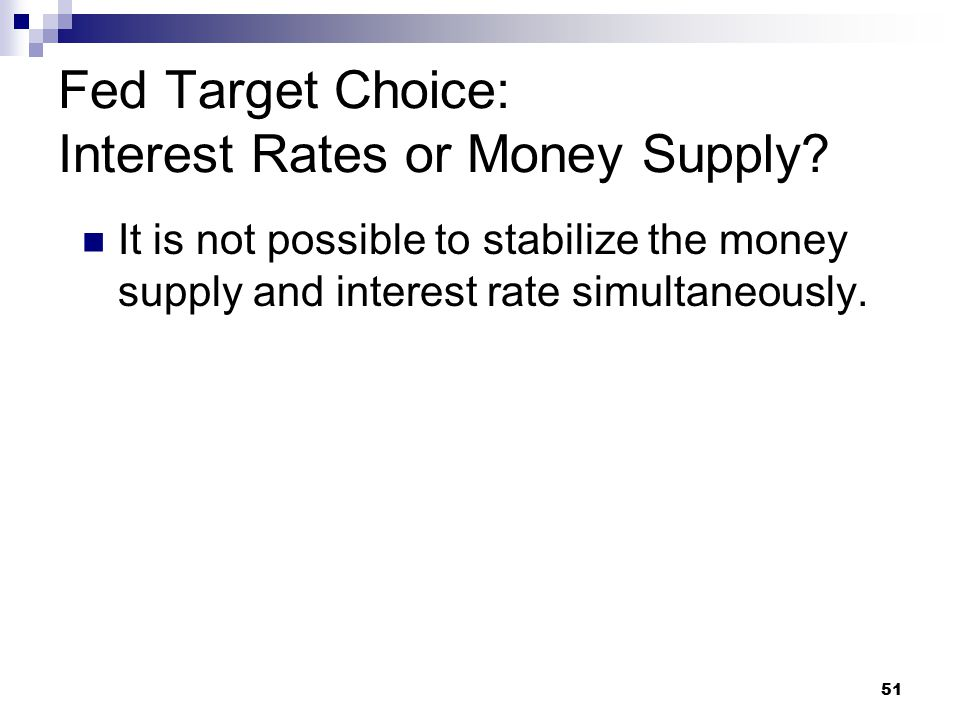 51 It is not possible to stabilize the money supply and interest rate simultaneously. Fed Target Choice: Interest Rates or Money Supply?