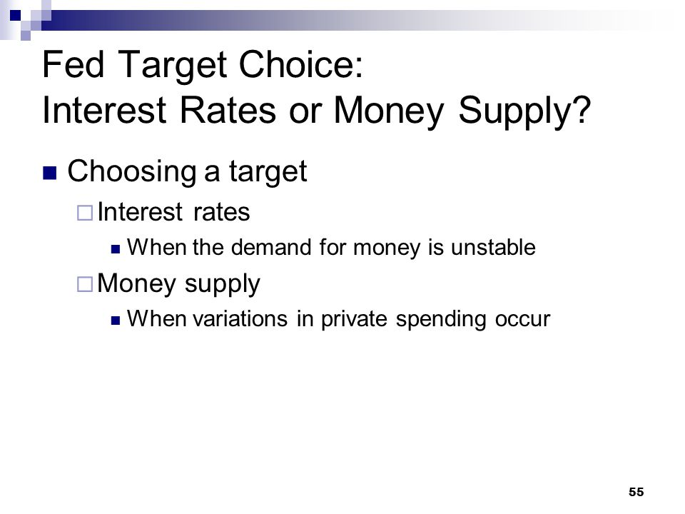 55 Choosing a target  Interest rates When the demand for money is unstable  Money supply When variations in private spending occur Fed Target Choice