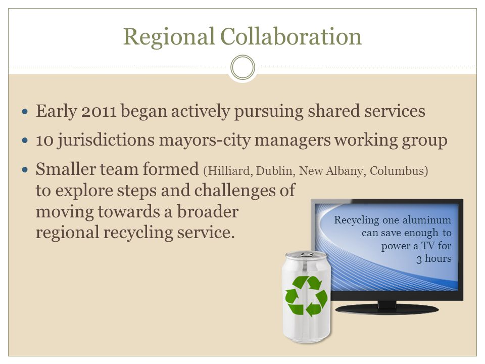 Regional Collaboration Early 2011 began actively pursuing shared services 10 jurisdictions mayors-city managers working group Smaller team formed (Hilliard, Dublin, New Albany, Columbus) to explore steps and challenges of moving towards a broader regional recycling service.